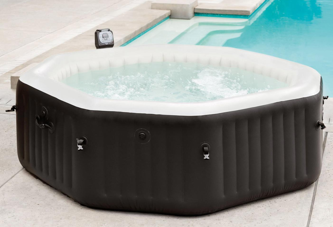 intex pure spa deluxe octagon whirlpool aufblasbar mit jets und bubble 4 person 78257284542 ebay. Black Bedroom Furniture Sets. Home Design Ideas