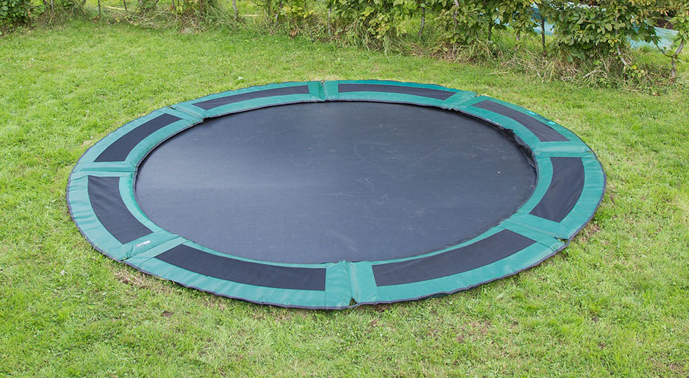 bodentrampolin in ground capital play 427 gr n rundes gartentrampolin inground ebay. Black Bedroom Furniture Sets. Home Design Ideas